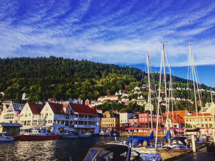 Beautiful sky, mountains and water in Bergen Harbor next to the fish market