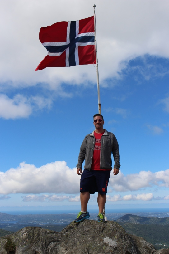 Norwegian Flag near the top of Mount Ulkrien
