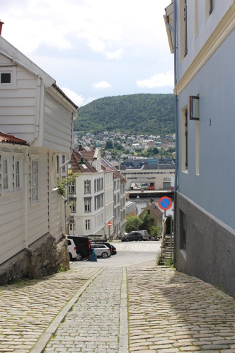 The streets of Bergen, Norway built into the mountain